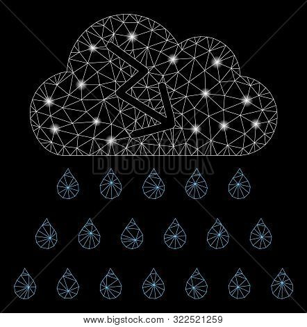 Glossy Mesh Thunderstorm Rain Cloud With Lightspot Effect. Abstract Illuminated Model Of Thunderstor
