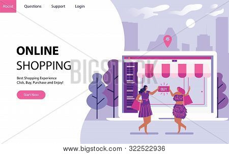 Online Shopping Concept With Women Buying Some Stuff In Internet Form A Laptop. Landing Modern Page