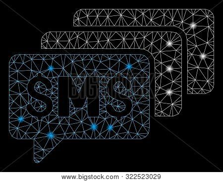 Flare Mesh Sms Messages With Glitter Effect. Abstract Illuminated Model Of Sms Messages Icon. Shiny