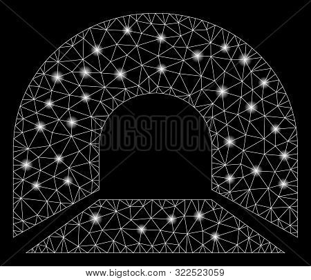 Flare Mesh Tunnel With Glitter Effect. Abstract Illuminated Model Of Tunnel Icon. Shiny Wire Carcass