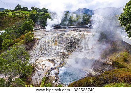 Hot Thermal Springs In Furnas Village, Sao Miguel Island, Azores, Portugal. Caldeira Do Asmodeu