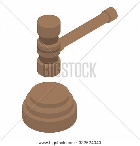Judicial Hammer Icon. Isometric Of Judicial Hammer Vector Icon For Web Design Isolated On White Back
