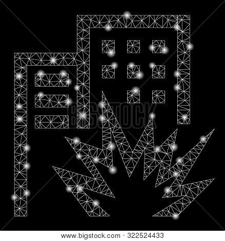 Glowing Mesh House Terror With Sparkle Effect. Abstract Illuminated Model Of House Terror Icon. Shin