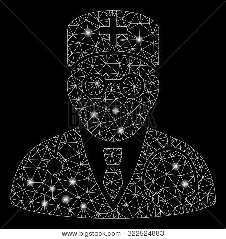 Glowing Mesh Physician With Lightspot Effect. Abstract Illuminated Model Of Physician Icon. Shiny Wi