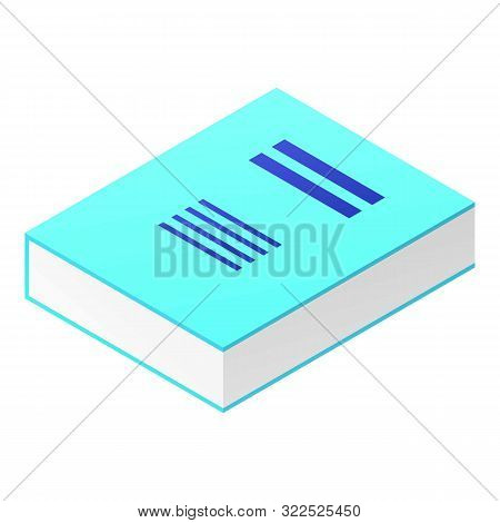 Thick Blue Book Icon. Isometric Of Thick Blue Book Vector Icon For Web Design Isolated On White Back