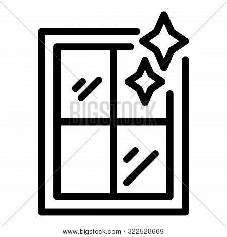 Shining Clean Window Icon. Outline Shining Clean Window Vector Icon For Web Design Isolated On White