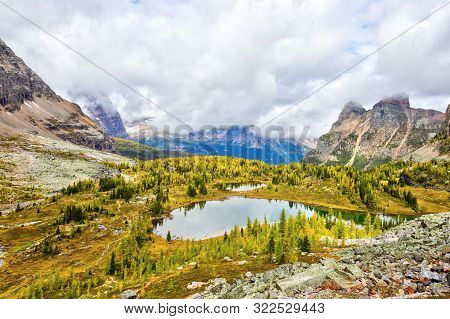 Hungabee Lake And Moor Lakes On The Opabin Trail At Lake O'hara In Yoho National Park