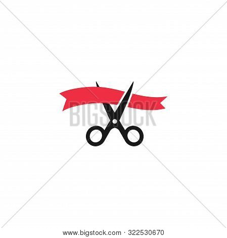 Scissors Cutting Red Waved Ribbon, Inauguration Ceremony Event Vector Icon. Grand Opening Consept Si