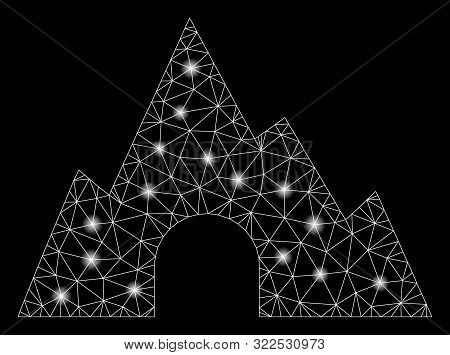 Glossy Mesh Mountain Tunnel With Glow Effect. Abstract Illuminated Model Of Mountain Tunnel Icon. Sh