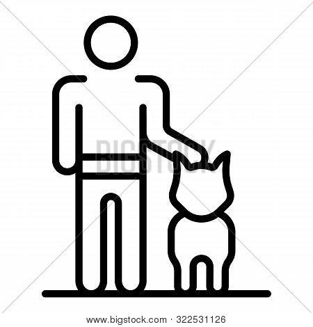 Man Training Dog Icon. Outline Man Training Dog Vector Icon For Web Design Isolated On White Backgro