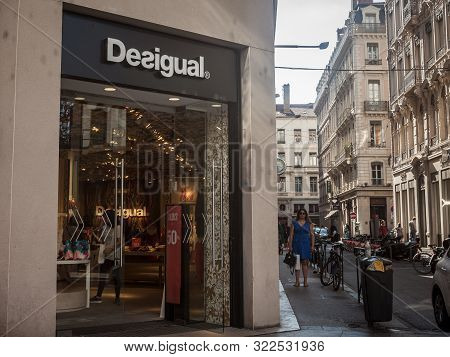 Lyon, France - July 13, 2019: Desigual Logo In Front Of Their Main Boutique For Lyon. Desigual Is A