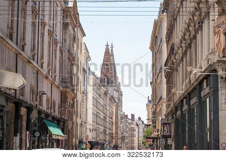 Lyon, France - July 14, 2019: Eglise Saint Nizier Church On Rue Paul Chenavard Street In Lyon, Franc