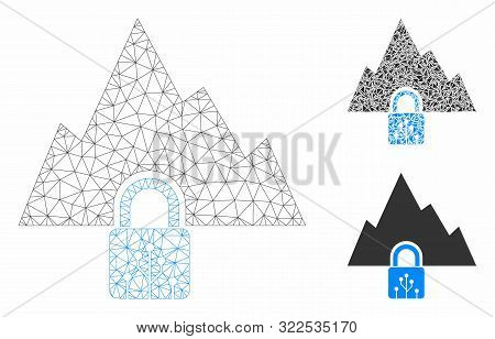 Mesh Vpn Tunnel Model With Triangle Mosaic Icon. Wire Carcass Polygonal Mesh Of Vpn Tunnel. Vector M
