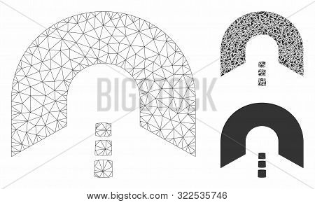 Mesh Tunnel Model With Triangle Mosaic Icon. Wire Carcass Polygonal Network Of Tunnel. Vector Mosaic