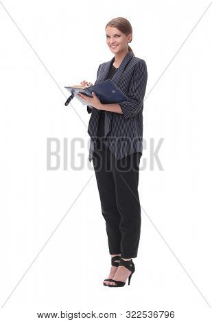 serious businesswoman reading a business document. isolated on white