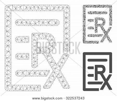 Mesh Receipt Model With Triangle Mosaic Icon. Wire Frame Polygonal Network Of Receipt. Vector Mosaic