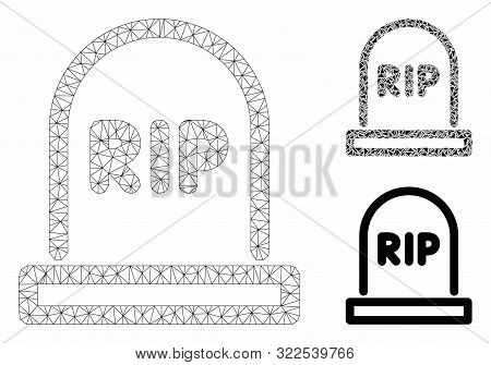 Mesh Tomb Model With Triangle Mosaic Icon. Wire Carcass Triangular Mesh Of Tomb. Vector Mosaic Of Tr