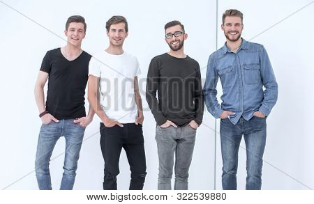 in full growth. a group of modern young men