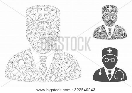 Mesh Physician Model With Triangle Mosaic Icon. Wire Carcass Polygonal Mesh Of Physician. Vector Col