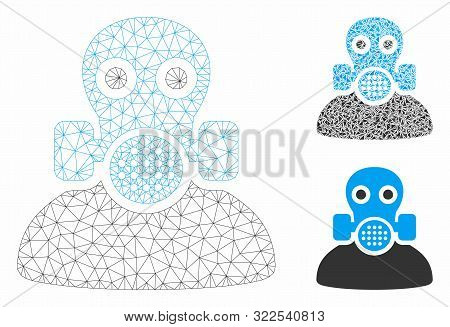 Mesh Toxic Work Model With Triangle Mosaic Icon. Wire Frame Triangular Mesh Of Toxic Work. Vector Mo