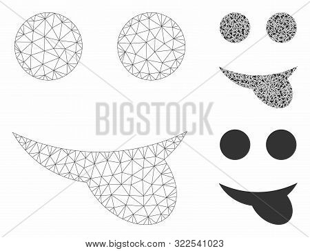 Mesh Tongue Smiley Model With Triangle Mosaic Icon. Wire Carcass Polygonal Mesh Of Tongue Smiley. Ve