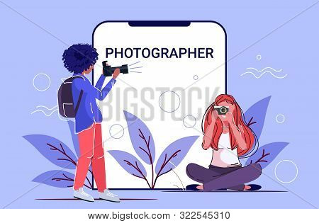 Professional Female Photographers Taking Picture Photo Mix Race Girls Shooting With Digital Dslr Cam