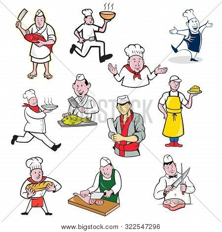 Set Or Collection Of Cartoon Character Mascot Style Illustration Of Food Worker Such As Chef, Cook,