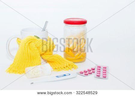Food, White, Background, Green, Ailment, Cold, Cup, Drug, Epidemic, Flu, Headache, Health, Lemon, Me