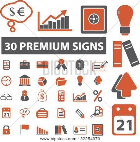 30 premium business & office signs. vector