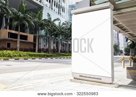 Digital Media Blank Advertising Billboard In The Bus Stop, Blank Billboards Public Commercial With P