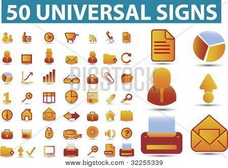 50 universal premium signs. vector