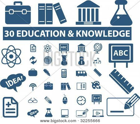 30 education & knowledge signs. vector