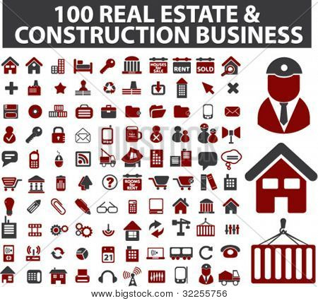 100 business, architecture, real estate, construction signs. vector