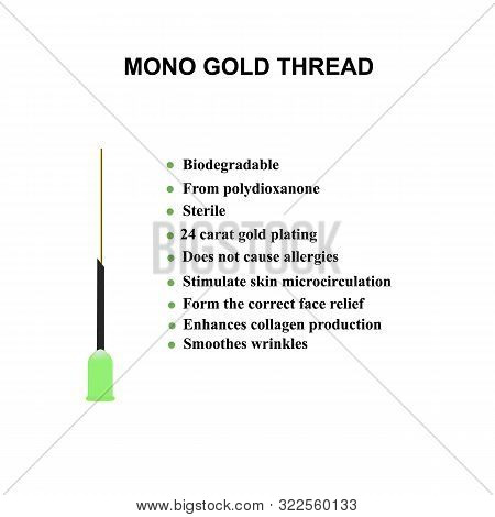 poster of Mono Gold Thread for facelift and wrinkle smoothing. Mesotherapy Infographics. Cosmetology. Vector illustration on isolated background.