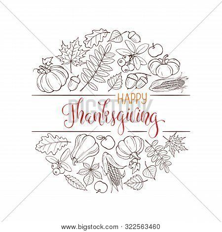 Happy Thanksgiving Day Vector Banner With Hand Drawn Pumpkins And Autumn Leaves. Thanksgiving Poster