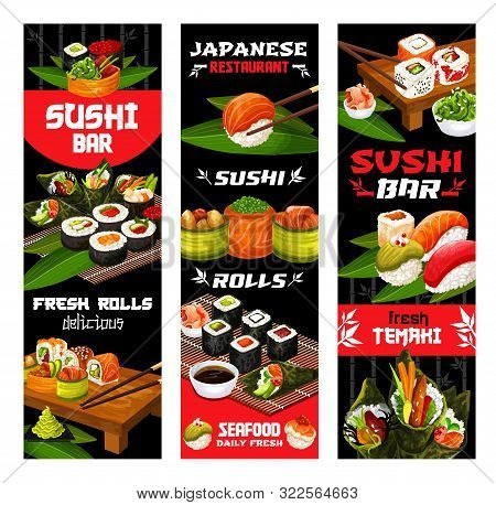 Sushi Menu, Japanese Cuisine Food And Restaurant Banners. Vector Fish And Seafood Sushi Rolls With B