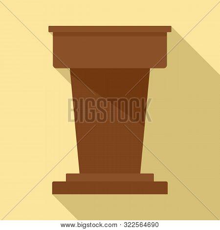 Lawyer Tribune Icon. Flat Illustration Of Lawyer Tribune Vector Icon For Web Design