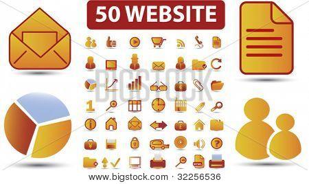 50 website signs. vector