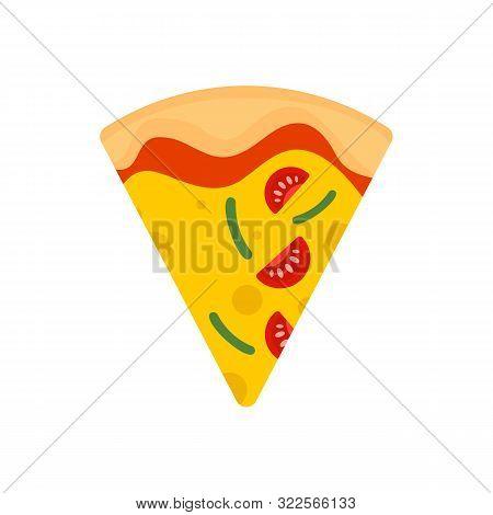 Slice Of Mozzarella Pizza Icon. Flat Illustration Of Slice Of Mozzarella Pizza Vector Icon For Web D