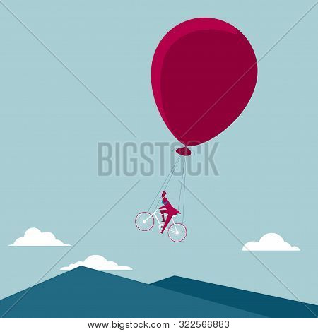 Cycling In The Air. Isolated On Blue Background.