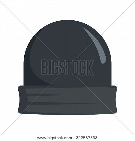 Black Beanie Icon. Flat Illustration Of Black Beanie Vector Icon For Web Design