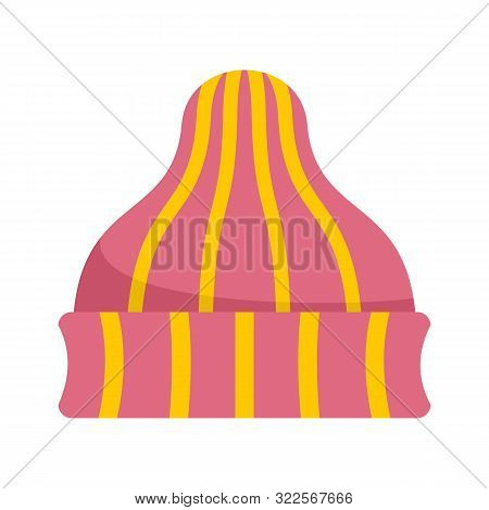 Striped Winter Beanie Icon. Flat Illustration Of Striped Winter Beanie Vector Icon For Web Design