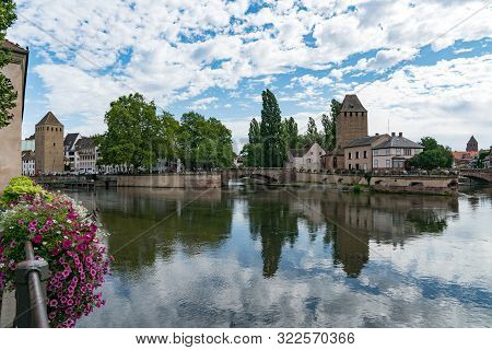 Strasbourg, Bas-rhin / France - 10 August 2019: View Of The Historic Old Town And Canals Of The City