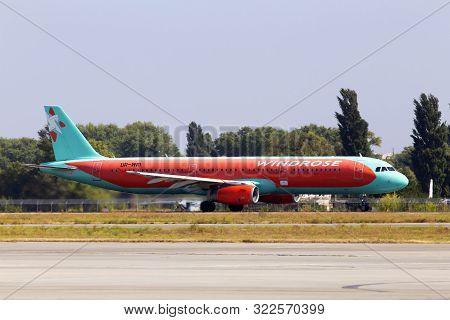 Borispol, Ukraine - September 10, 2019: Ur-wri Wind Rose Aviation Airbus A321-200 Aircraft Running O