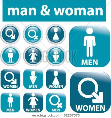 man & woman signs. vector