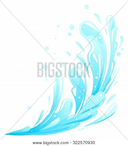 Blue Water Splashes Flying From One Side Isolated, Group Of Water Drops, Fountain Beats Up And Falls