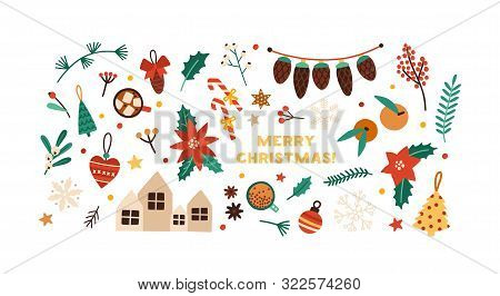 Christmas Festive Flat Vector Decorations Set. Winter Season Stickers Isolated On White Background.