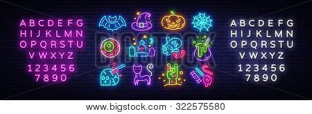 Halloween Neon Icons Set. Happy Halloween Collection Neon Signs. Bright Sign Boards, Light Banner. M