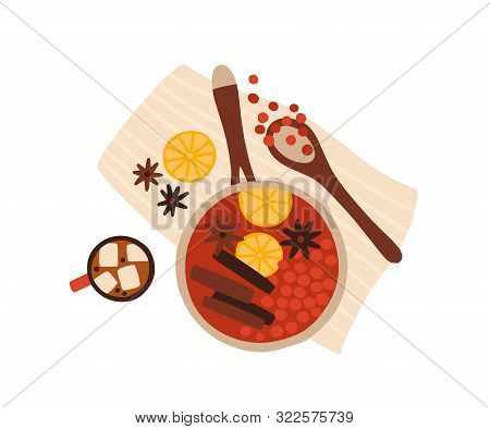 Mulled Wine Cooking Top View Vector Illustration. Christmas Hot Drink Ingredients Creative Flat Lay.