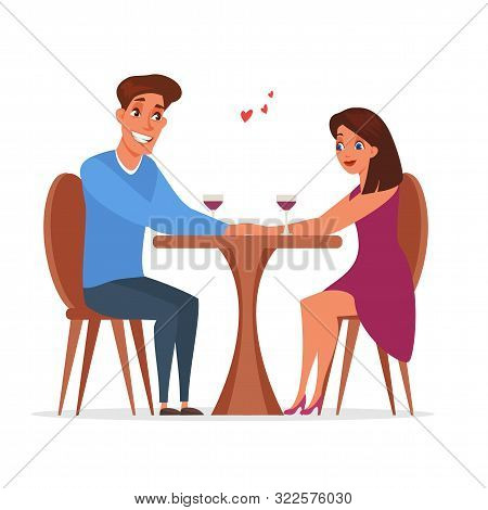 Romantic Date In Restaurant Vector Illustration. Married Couple, Husband And Wife Drinking Wine. Cel